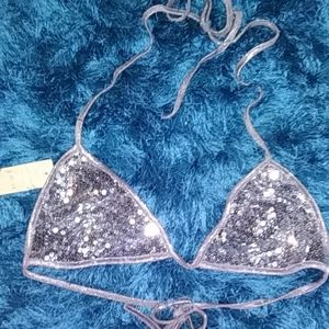 Silver sparkly ✨ bathing suit top😍